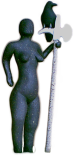 Wary Companions - a statue of the dark goddess or the morigan, with a crow or raven perched on her pole weapon