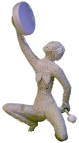 Wisdom's Journey - a statue of the crone - holding a sacred hand drum aloft