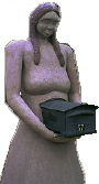 abidance - a seven foot tall statue of a women holding a mailbox